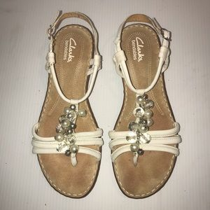 Clarks Bendable Pearl & Clear Bead Buckled Sandal